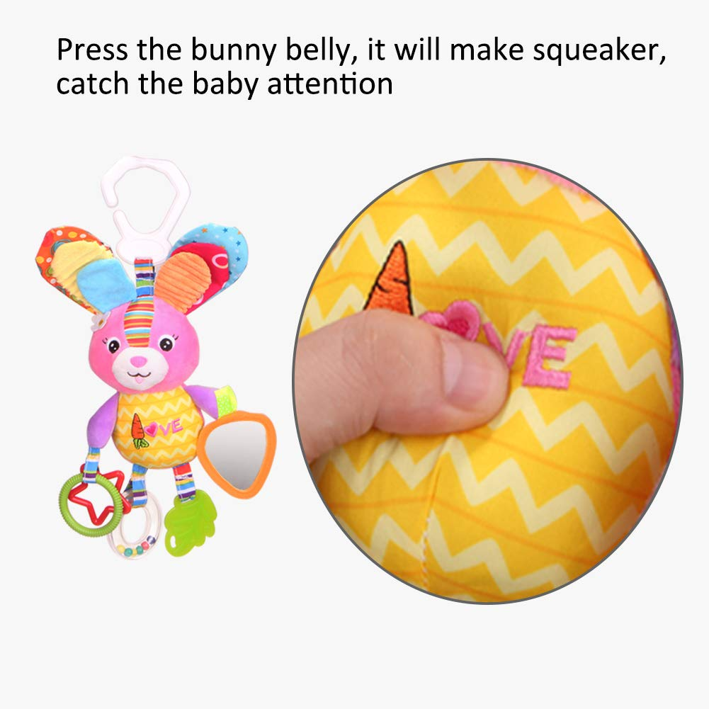 Dmeixs Hanging Stroller Toys, Infant Teether Toys Squeaker Crinkly Ear,Baby Stroller Toys Colorful Car Seat Rattle Toys,Rabbit Toys Stroller,Car Seat,Infant Bed by Dmeixs (Image #4)