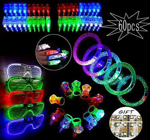 Glow In The Dark Party Supplies,Light Up Toys,Party Favors For Kids,Include(40 Finger Lights)+(10 Lighted Rings)+(5 Bracelets)+(5 Flashing Slotted Shades Glasses) -