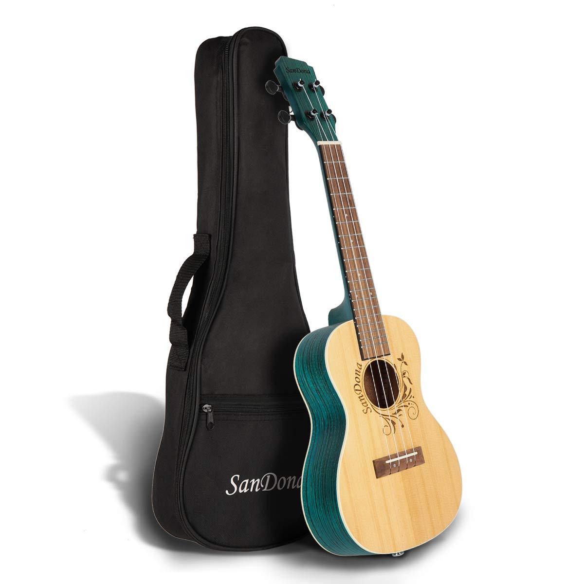 SANDONA Acoustic Electric Concert Ukulele EQ 24 Inch Kit eUKC-141 | Spruce Solid Wood | Under-Saddle Piezo Bridge Pickup, Strap, Aquila Strings, Digital Tuner and Gig bag (Latte) Hommii