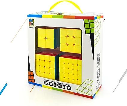 EasyGame Moyu Speed Cube Bundle 2X2 3X3 4X4 5X5 Juego de 4 Cubos mágicos sin Cubrir de 4 con Embalaje de Regalo: Amazon.es: Juguetes y juegos