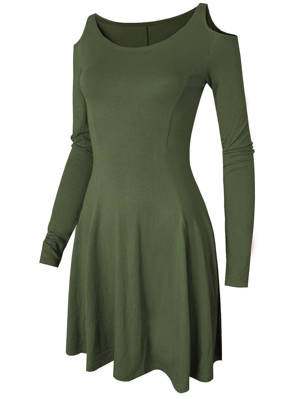 HRYfashion Damen elegant eng anliegendes Kleid langarm mit Schulterausschnitt