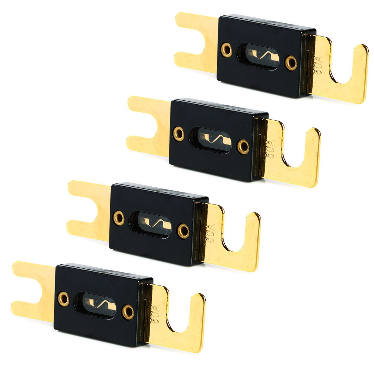 100 AMP 4 Pack ANL fuse For Autocar Vehicles Audio System Gold Plated