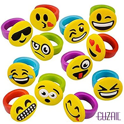 CUZAIL Emoji Rings Party Favors Great For Birthday Pack Of 18
