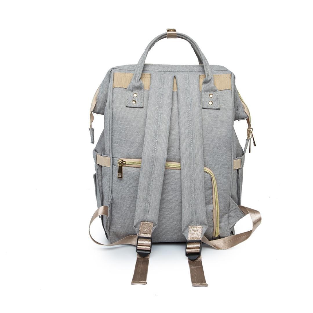 Mummy Bag, Hunzed Nappy Bag Large Capacity Baby Bag Travel Backpack Handbag Shoulder Bag Ladies Desiger Nursing Crossbody Bag (Gray) by Hunzed (Image #3)