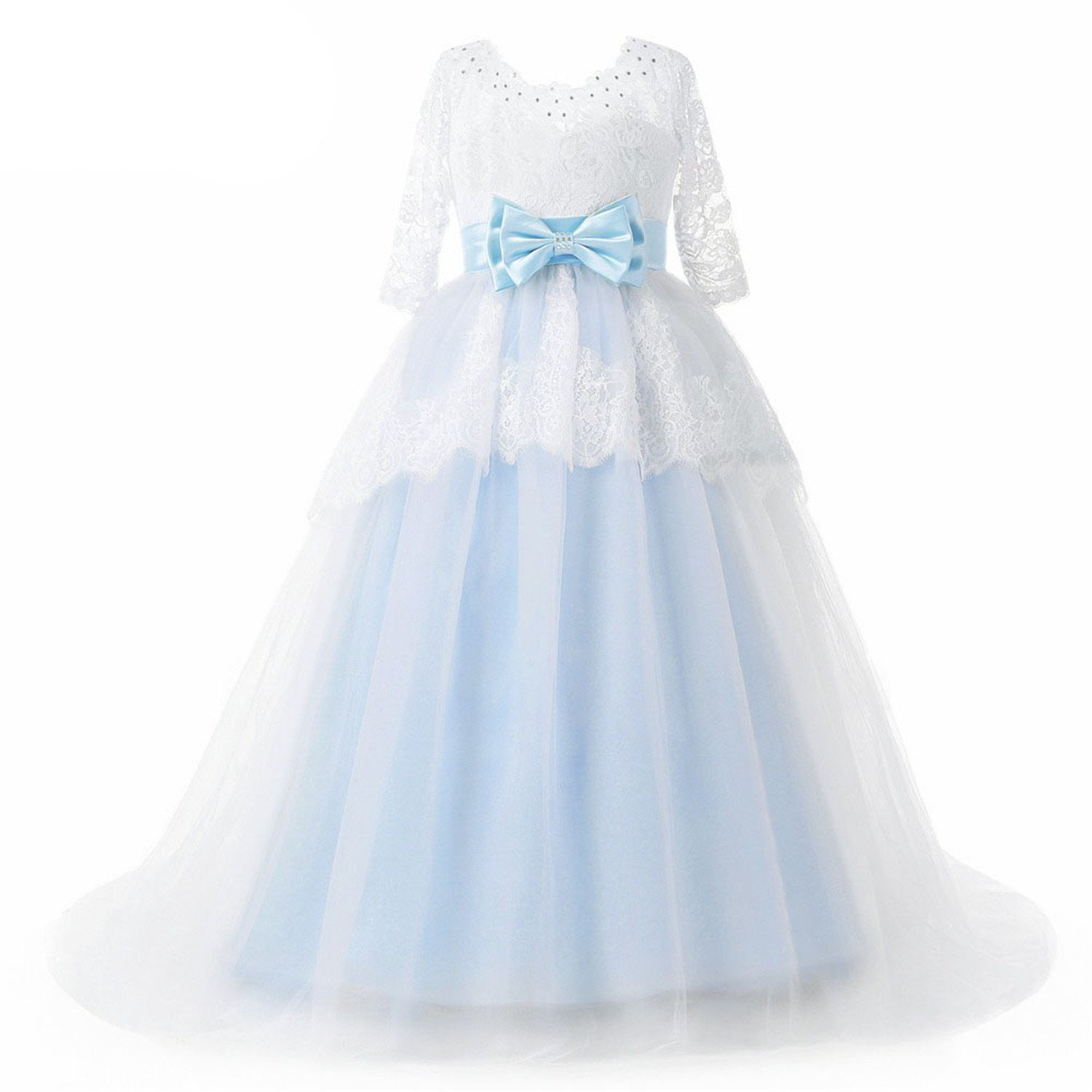 cd6daf378 Amazon.com: ylovego Light Blue Flower Girl Dresses with Sleeve Lace Kids  Occasion Dresses Bows 2018: Clothing