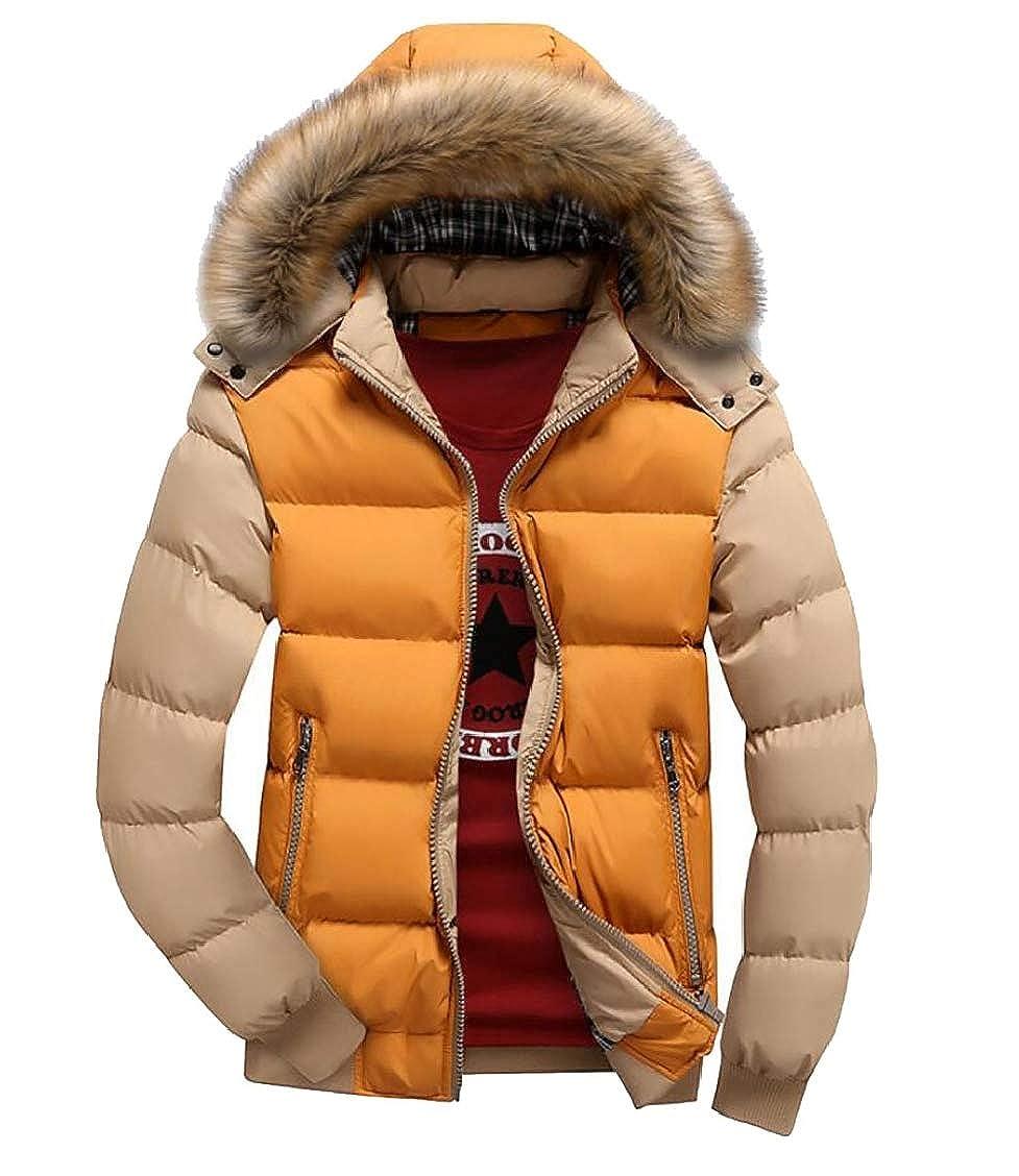 XQS Mens Faux-Fur Collar Color Contrast Front-Zip Hoodies Down Jacket Coat