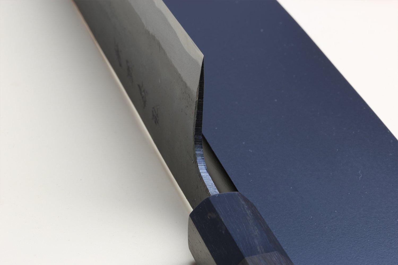 Yoshihiro Mizu Yaki Blue High Carbon Steel Super Kurouchi Kiritsuke Multipurpose Chef Knife (8.25 In) with Nuri Saya Cover by Yoshihiro (Image #5)