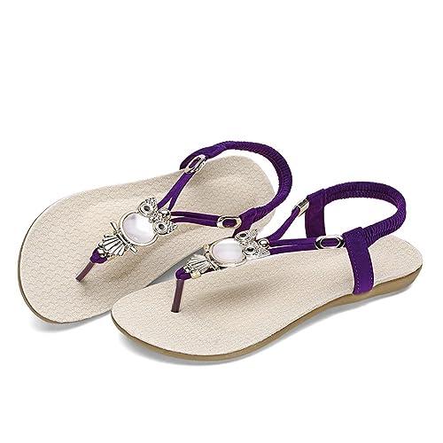 a90e157ea6df4 ... Women s Summer Owl Bohemian Beaded Walking Cheap Sandals Size 6 7 8 9  Fashion Casual ...