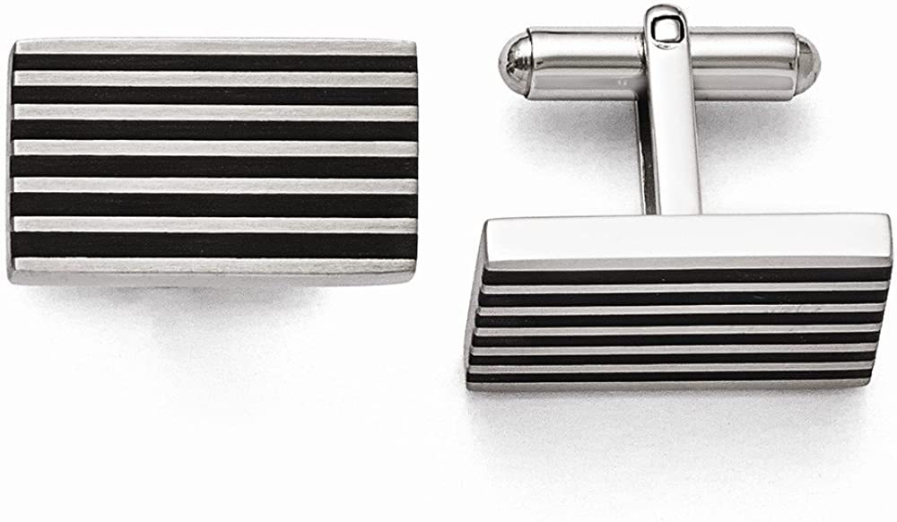 viStar Stainless Steel Brushed Black Rubber Cuff Links