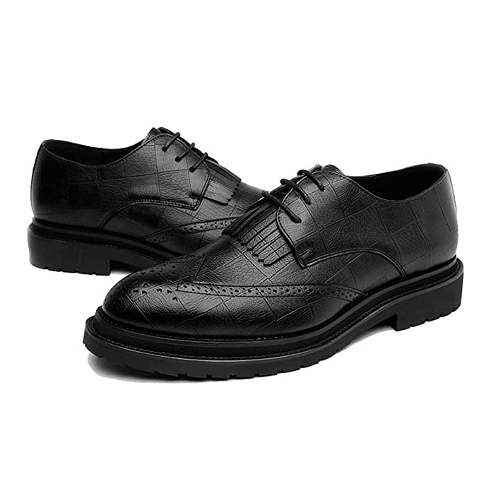 ZX Cuir Oxford Chaussures Hommes, Classique Dentelle Jusqu'à Respirant Formel Business Lined Oxfords Causal PU Cuir Brogue Chaussures pour Hommes (Couleur : Black, Size : 44 EU)