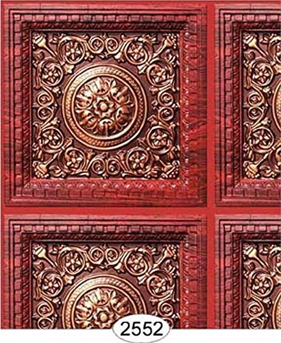 Dollhouse Wallpaper Ceiling Rosette Panel Antique Copper & Rosewood