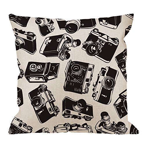 HGOD DESIGNS Camera Pillow Cover,Decorative Throw Pillow Old Camera Pillow cases Cotton Linen Outdoor Indoor Square…