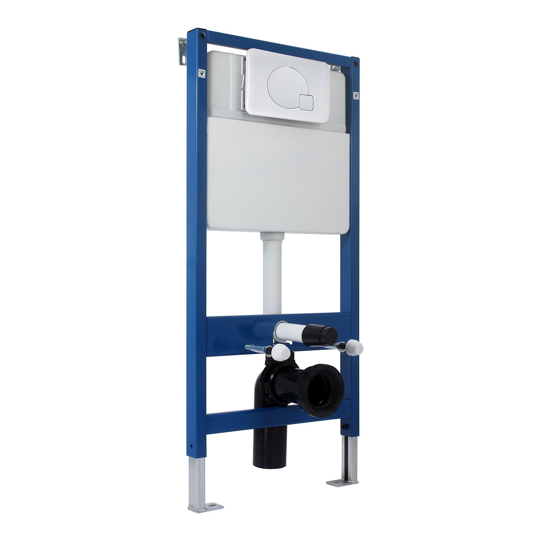Structure/bâ ti-Support pour WC Suspendu Mur Porteur ou Non ré servoir 7 L Charge 400 Kg Max. 51L x 107H cm HDPE Acier Bleu Homcom