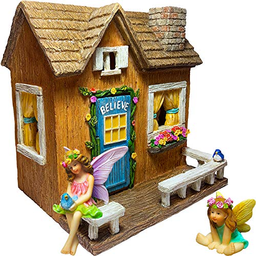 Mood Lab Fairy Garden - Miniature Believe House Kit - Figurines and Accessories Set (Gardens Miniature For Fairies)