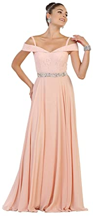 May Queen MQ1540 Military Ball/Prom Formal Gown (Blush, 4)