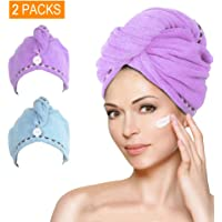 Microfiber Hair Towel Turban Wrap, AMoko Super Absorbent Anti-Frizz Hair Drying Towels Cap for Curly, Long and Thick…