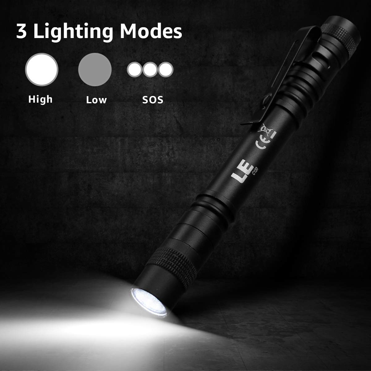 LE LED Pocket Pen Light Flashlight Small Pack of 2 Repair Mini Work Perfect Flashlights for Inspection Stylus PenLight with Clip
