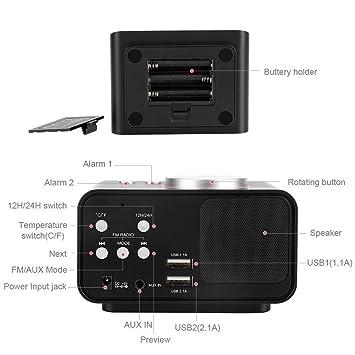 Reloj Radio Despertador Digital Pantalla LCD Despertador Radio FM con Altavoz Función Dual USB Puertos de Carga Despertador Proyector con Alarma de ...