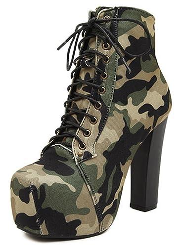 SHOWHOW Damen Tarnung Schnürstiefeletten Kurzschaft Stiefel mit Absatz Militär-Grün 37 EU FWw2ROCBQ