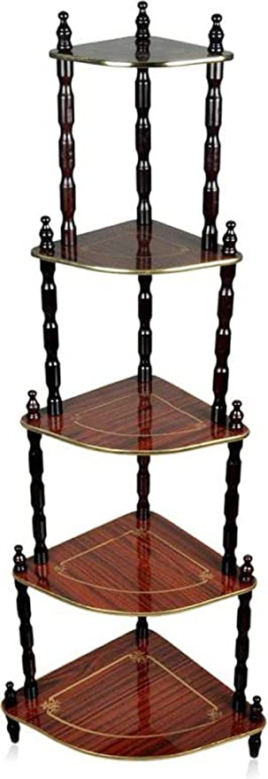 Amakart 5 Shelve Corner Table Wooden Shelf, Multi Color