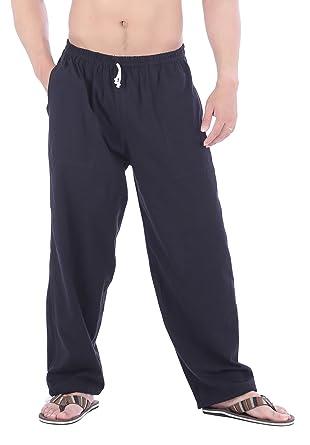33460da4d9 CandyHusky Men Casual Lounge Jogging Workout Yoga Pants Elastic Waist  Drawstring (Small, Black)
