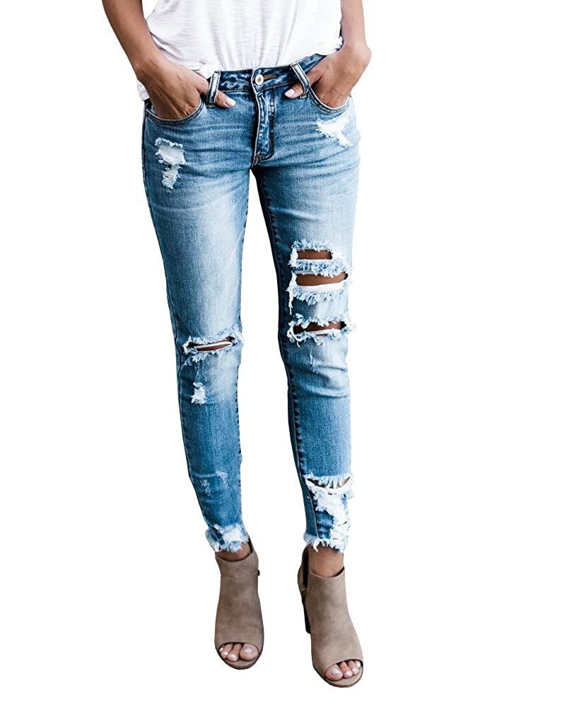 e1ad37c8a1a7e Misassy Womens Juniors Distressed Ripped Destroyed Jeans Skinny Moto  Leggings with Frayed Hem at Amazon Women s Jeans store