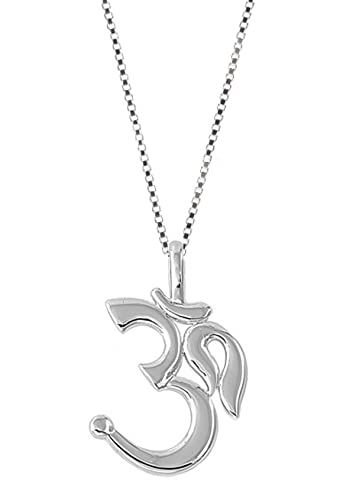 Amazon sterling silver om pendant womens jewelry necklace 18 sterling silver om pendant womens jewelry necklace 18 inch aloadofball Image collections