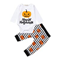 2018 Happy Halloween Pumpkin Clothes Outfits Mingfa Newborn Infant Toddler Baby Boy Girl Letter Printed Long Sleeve Romper Pants Set (White, 18M)