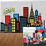 Allenjoy 7x5ft Photography backdrops Superhero Super City Skyline Buildings Children Birthday Party Event Banner Photo Studio Booth Background Baby Shower Photocall Decorations Supplies