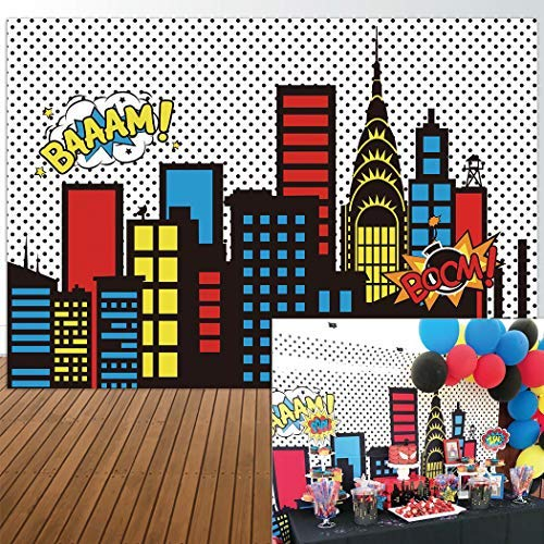Allenjoy 7x5ft Photography backdrops Superhero Super City Skyline Buildings Children Birthday Party Event Banner Photo Studio Booth Background Baby Shower photocall Fabric Material