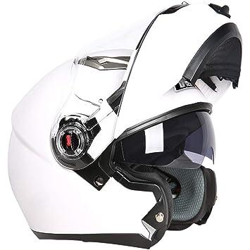 MATEROP Cascos de Moto modulares abatibles hacia Arriba Cascos Capacetes De Motociclista Viseras Dobles Cascos de