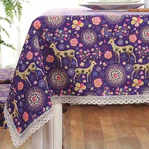 Creek Ywh Juego de Mesa tapete de Tela Mantel Mantel tapete de Mesa de café Mantel de algodón Fresco y Lino Conjunto Mesa Cuadrada Rectangular Rectangular, Ciervo púrpura, 130 * 180 cm: