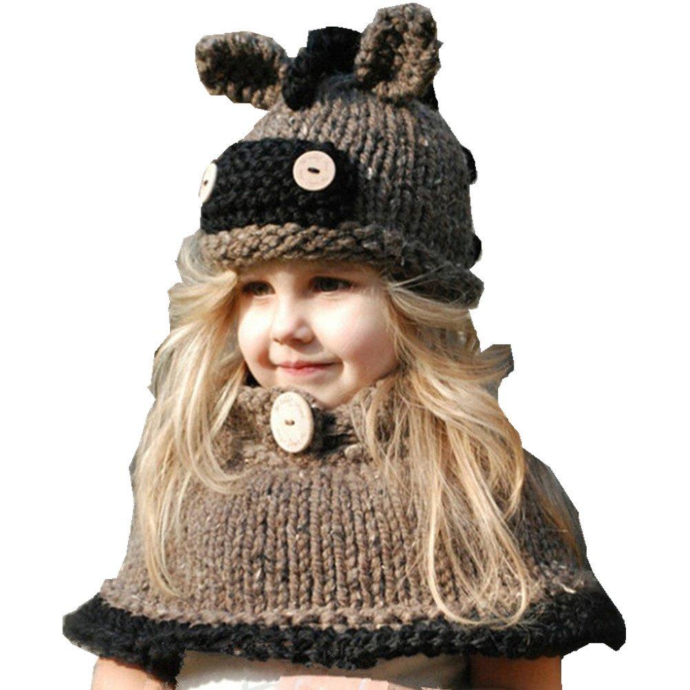 fd718d81dead YUANMY Bonnet Animaux Tricoté d Hiver Chapeaux Oreilles Enfants Filles  Cagoules avec Cape Protection Tour de Cou 3 4 5 6 7 8 ans  Amazon.fr   Sports et ...