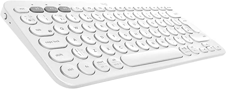 Logitech K380 - Teclado inalámbrico, Bluetooth multidispositivo con Easy-Switch para hasta 3 dispositivos, compacto PC, portátiles, Windows, Mac, Chrome OS, Android, iPad OS, Apple TV, Color Blanco: Amazon.es: Informática