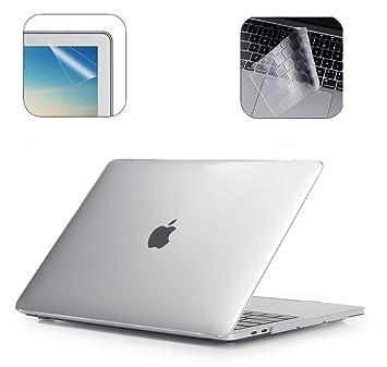 i-Buy Funda Dura para MacBook Air 13 Pulgadas(Model A1932 2018.11) con Retina Display y Touch ID + TPU Skins para Teclado + Filtros de Pantalla, Claro