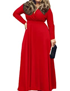 2564b27d4f2 Lalagen Women s Vintage Long Sleeve Plus Size Evening Party Maxi ...