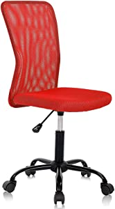 Home Office Chair Computer Chair Small Office Chair Mid Back Mesh Chair Height Adjustable Desk Chair, Modern Task Chair No Armrest Cheap Rolling Swivel Chair Student Office Chair with Wheels,Red