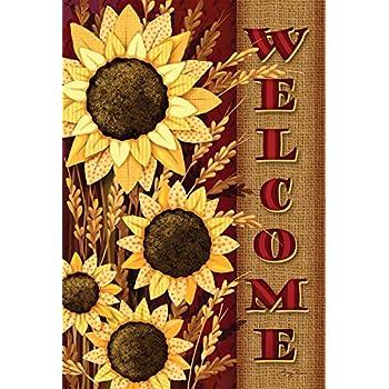 Toland Home Garden Welcome Sunflowers 12.5 X 18 Inch Decorative Fall Autumn  Flower Garden Flag