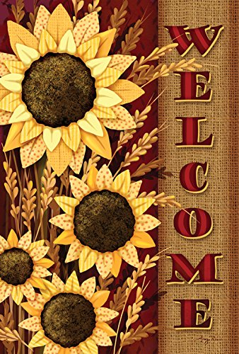 "Toland Home Garden 1010537 ""Welcome Sunflowers Fall/Harvest"" Decorative House Flag, 28"" x 40"""