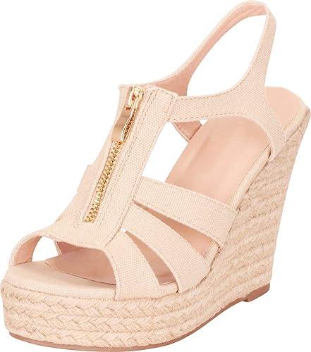 0655d5ea957 Cambridge Select Women's Open Toe Cutout Caged Zip Espadrille Chunky  Platform Wedge Sandal