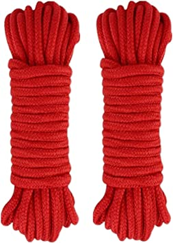 Red 10 M//33 Feet Soft Cotton Rope,8 MM Craft Rope Thick Twisted Cord