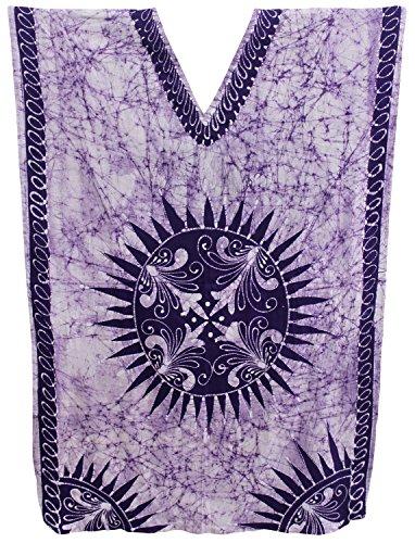 LA LEELA Hand BatikWomen's Cotton Plus Cover up Lounge Sleep Night Wear Caftan Long Dress Purple Wear Caftan