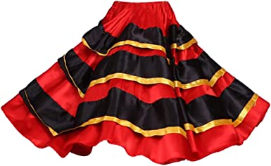 wetry - Falda de Baile Flamenco para Niñas Falda de Satén Rojo ...