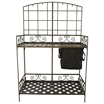 Delightful Wrought Iron Decorative Foldable Potting Bench