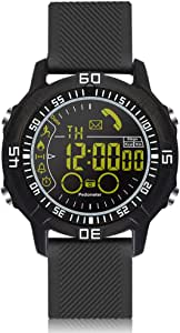 ROADTEC Digital Smart Watch, IP67 Waterproof 5ATM Bluetooth 4.0 Sport Smartwatch with Call SMS Notification Pedometer Remote Camera for iOS Android … (Black Silicone Band)