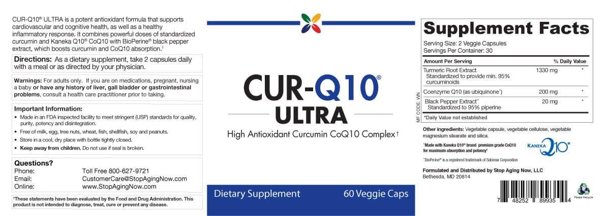 Stop Aging Now CUR-Q10 ULTRA Curcumin CoQ10 Complex Veggie Capsules
