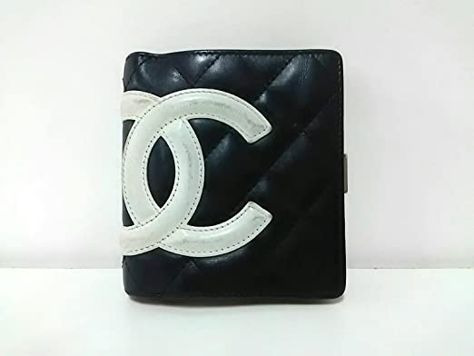 06be9a3472f2 Amazon.co.jp: (シャネル)CHANEL 2つ折り財布 カンボンライン 黒×白 ...