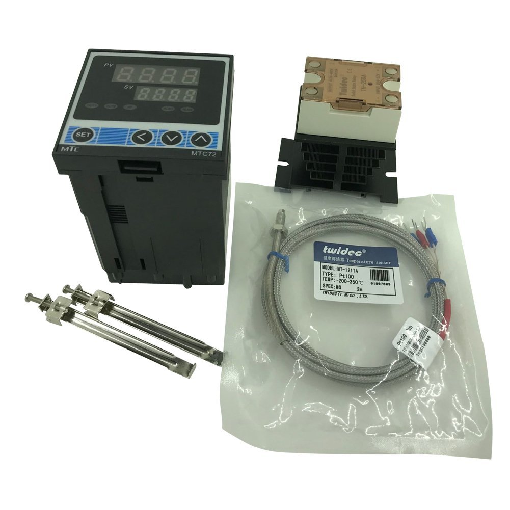 Twidec MTC72 PID Temperature controller, 90-240VAC, 0-400 °C, Input: PT100, Output: SSR(DC12V); PT100 screw probe, probe lead length 2M(78.74 inches);TH-25DA SSR 25A;Black heat sink