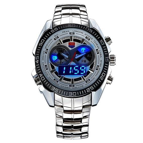 reloj digital hombre reloj militar reloj resistente al agua hombre Reloj de pulsera LED para hombre impermeable y de acero con caja caja para relojes: ...