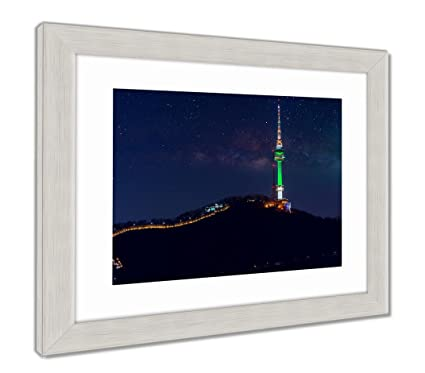 Ashley Framed Prints Seoul Tower And Milky Way Galaxy In Seoul South Korea, Wall Art